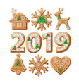christmas gingerbread realistic set vector image