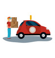 delivery guy with box vector image vector image