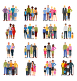 Family Members Groups Flat Icons Set vector image vector image