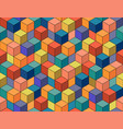 geometric colorful seamless pattern mosaic cubes vector image