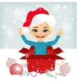 girl coming out of inside christmas gift box vector image
