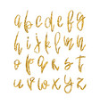 golden lowercase alphabet vector image vector image