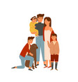 happy big family portrait flat wife vector image vector image