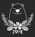 happy white bear with floral elements and vector image