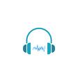 headphones dj logo sound wave of music icon vector image