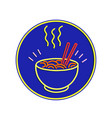hot noodle bowl neon sign vector image