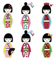 Japanese dolls vector image vector image