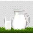 jug with glass and grass border transparent vector image vector image