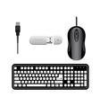 Keyboard Mouse USB flash drive vector image