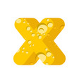 letter x cheese font symbol of cheesy alphabet vector image