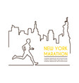 line silhouettes of male runner running marathon vector image vector image
