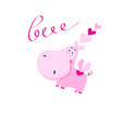 love pink hippo with hearts isolated vector image vector image