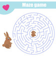maze game help rabbit mother find baby labyrinth vector image vector image