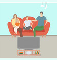 mom and dad daughter and son watching tv vector image vector image