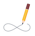 pencil drawing infinity symbol isolated on white vector image vector image