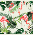 pink flamingo and exotic green palm leaves vector image vector image