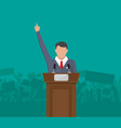 public speaker on podium in front of a crowd vector image vector image