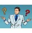 Questions businessman misunderstanding vector image