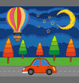 scene with kids riding balloon over the road at vector image vector image