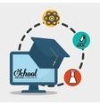 school computer graduation chemical vector image vector image