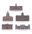 set famous palace buildings in line vector image