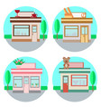 set of shops in a flat style vector image vector image