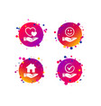 smile and hand icon heart tick symbol vector image vector image