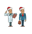 smiling christmas doctor and businessman vector image vector image