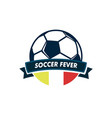 soccer fever ball ribbon footbal club emblem vector image
