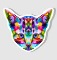 sticker colorful kitten head vector image vector image
