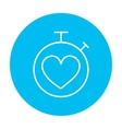 Stopwatch with heart sign line icon vector image vector image