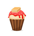 sweet muffin or cupcake icon vector image vector image