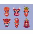tiki masks hawaiian tribal totem god faces vector image vector image