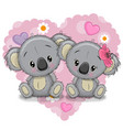 two cartoon koalas on a background of heart vector image vector image