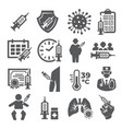 vaccine icons set on white background vector image