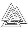valknut symbol icon black color outline flat vector image vector image