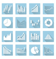 various symbols of graphs flat blue icons eps10 vector image