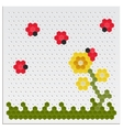 Mosaic Flowers and Ladybird vector image