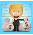 happy man holding big money bags vector image