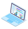 3d isometric laptop with data analytics increase vector image vector image