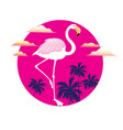 a icon a white flamingo vector image vector image