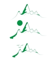 A set of emblems green mountains with tree vector image