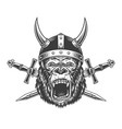 angry gorilla head in horned viking helmet vector image vector image