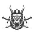 angry gorilla head in horned viking helmet vector image vector image