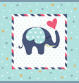 baby shower greeting card with elephant vector image vector image