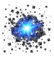 Black pyramids and blue fire explosion isolated on vector image vector image