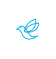 blue bird line logo simple design vector image vector image