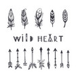 boho style collection for tattoo icon vector image