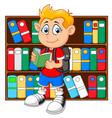 boy in library vector image