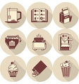 Brown icons for morning menu vector image